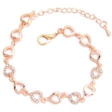 1x New Rose Gold Rhinestone Alloy Hollow Heart Chain Bracelet Extender Chain BS