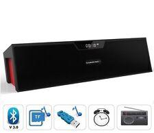Bluetooth Wireless Speaker w/Mic LCD Alarm Clock TF/FM Radio MP3 Music Player UK