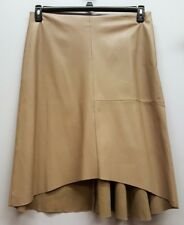CHICOS Size 2 Beige Tan Faux Leather Hi Lo Knee Length A-Line Skirt