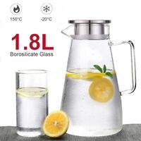 1.8L Carafe Tea Juice Wine Water Glass Bottle Drink Filter Stainless Steel