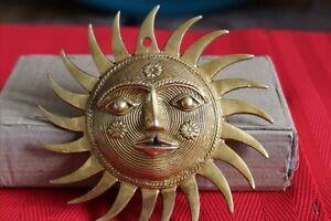 Golden Antique Style Brass Sun Face Ornament Sun Mask wall hanging Buddha Plaque