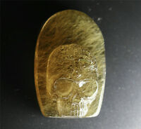 Rare Natural Golden Rutilated Quartz Crystal Carved Skull Healing For pendant
