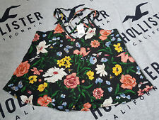 New Women's HOLLISTER Strappy Back Cami Size XS Black Pattern Floral