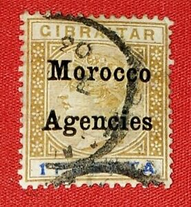 {Great Britain Morocco< Scott #18<USED<  VF< No Thins< CV $50.00>/epictronic/JC}