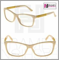 GUCCI Diamantissima GG3695S Ivory Gold Plated RX Frame Eyeglasses 3695 54mm