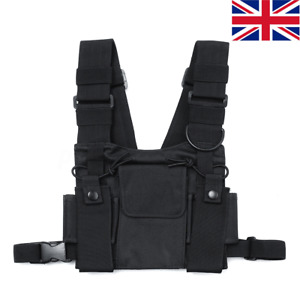 Radios Pocket Radio Chest Harness Chest Front Pack Pouch Holster Vest Rig Bag UK