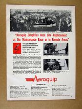 1957 Okanagan Helicopter in flight photo Aeroquip Hoses vintage print Ad
