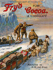SIBERIAN HUSKY SLED DOG TEAM OLF FRY'S CHOCOLATE ADVERT ON GREETINGS NOTE CARD