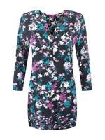 Ex Per Una Ladies Black Purple Floral Print Jersey Tunic Top Size 10 - 20