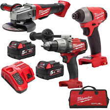 Milwaukee 18V Fuel M18 GENII Hammer Drill Impact Driver Angle Grinder Combo Kit