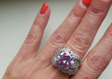 "NEW ""designer inspired"" Large Light Purple CZ Ring w.Pave Detail size 8"