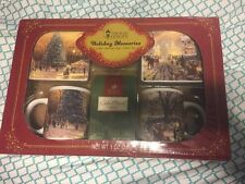 Thomas Kinkade Holiday Memories 2 Coffee Beverage Mugs 2 Coasters Coffee Set NEW