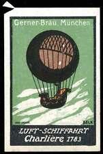 """Germany Poster Stamp - Advertising Gerner-Bräu Beer - Balloon """"Charlière"""""""