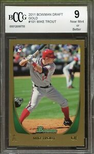 2011 Bowman Draft Gold #101 Mike Trout Rookie Card BGS BCCG 9 Near Mint+