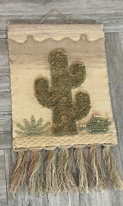 Vintage ICA Natural Fiber Wall Hanging Art Tapestry Cactus SW Handmade India
