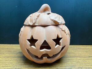 Ceramic Jack-O-Lantern Pumpkin Tealight Candle Holder Halloween Home Decor