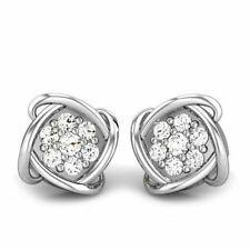 14k White Gold Cuff Links Men's Jewelry Round Cut White Stone Handmade Gift