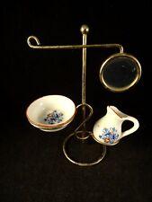 Ancien nécessaire toilette poupée support miroir bassine broc faïence miniature