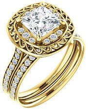 1.31 carat Princess & round DIAMOND Halo Engagement Wedding 14k Yellow Gold Ring