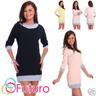 Everyday Mini Dress With Pockets 3/4 Sleeve Shift Dress Tunic Size 8-3.7m1872