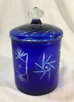 Vintage Cobalt Cut To Clear Biscuit Candy Cookie Jar With Lid Made In Romania