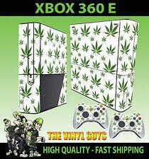 Xbox 360 E CANNABIS LEAF weiß Gras Skin & 2 Controller Polster Hülle
