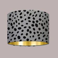 Black White Monochrome Dalmation Spot Brushed Gold Lampshade Light Shade