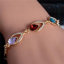 Multi Colors Charm Australia Gold Plated Rhinestone Women's Charm Bracelet Chain