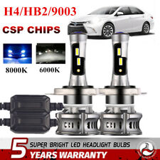 2x CREE CSP H4 LED Headlight Kits 2000W 300000LM Bulbs Hi/Low Power 6000K White