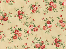Patchworkstoff Stoffe Romantik Rosenstoffe Lecien rote burgunder Rosen beige BW