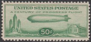 US 1933 50c Zeppelin Century of Progress Flight Mint Sc # C18