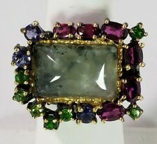 Gemstone Natural 13 X 10mm Prehnite Sterling 925 Silver-14k Gold Plated Sz 8 Ring #630