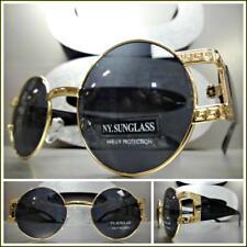 Men's CLASSIC RETRO HIP HOP Style SUN GLASSES Round Gold & Black Frame Dark Lens