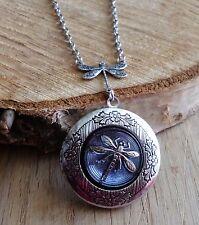 Vintage locket medaillon Foto kette nostalgie Libelle Dragonfly Elfe czech gift