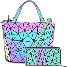 Hot One Color Changes Geometric Luminous Purses and Handbags Holographic Purse