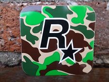 $$ RARE CAMOUFLAGE FLAG ROCKSTAR GAMES LOGO VINYL STICKER $$ GRAND THEFT AUTO $$