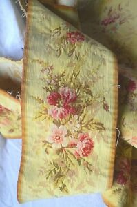 Antique French tapestry hem or border unpicked from chateau curtains