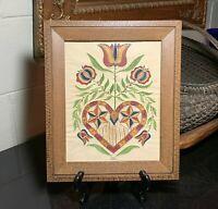 Marie Gottshall Pennsylvania Folk Art Flowers & Heart Stencil Watercolor Theorem