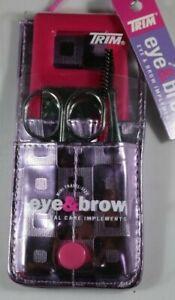 Trim Eye & Brow 5 PC Personal Care Implement Kit: PURPLE Geometric Design