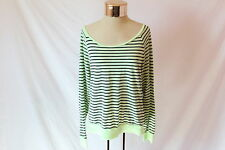 Women's Striped Lime-Green Long Sleeve Top by PINK Victoria's Secret - Size M