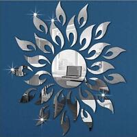3D Sunflower Mirror Acrylic Flower Effect Sticker Decal Home Wall Decoration