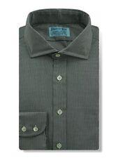 Cutaway Collar, 2 Button Cuff Shirt in a Plain Black & White Houndstooth Cotton