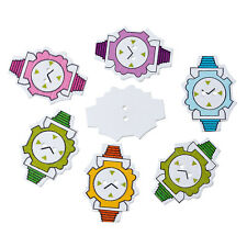 10 Mixed Colour Wooden Wrist Watch, Clock  Buttons. 35mm x 25mm  Free UK Post