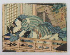 Couple, April Japanese original woodblock print , shunga,