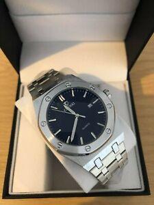 Luxury Men's AP Style Watch Silver with Black Face, Steel Luminous RRP £44.99