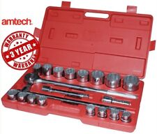 "Socket Set 20pc 3/4"" Drive Ratchet Handle Sliding T Bar Extension 19-50mm Metric"
