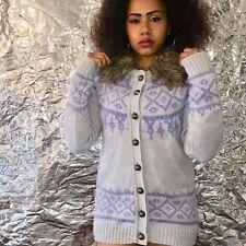 River Island Size 10 Vintage Wool Cardigan Lilac Aztec Print Faux Fur Neckline