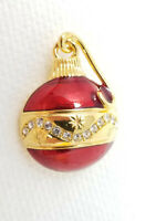 Vintage Gold Red Colored Glass Band Round Christmas Ornament Pin