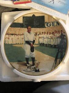"""Lou Gehrig 8"""" The Luckiest Man Delphi Collector's Plate The Legends Of Baseball"""