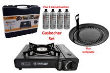 Campingkocher Gaskocher im Koffer  plus Gaskartuschen Butangas und Grillplatte